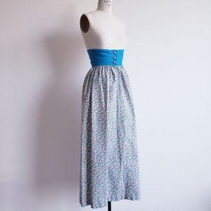 Vintage 60s/70s Corset Waist Floral Maxi Skirt